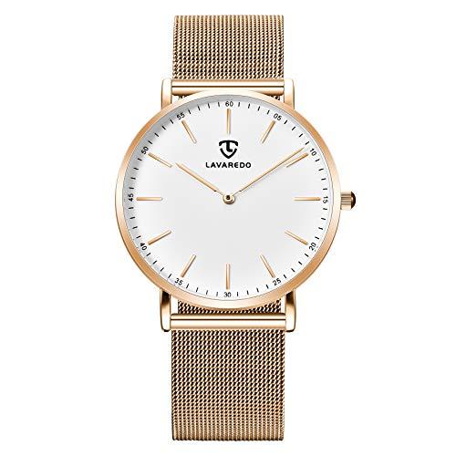 🥇 Relojes para Hombre Caballero Simple Cuarzo analógico Unisex Minimalista Impermeable para el Vestido de Hombre Reloj de Pulsera clásico para Hombre con Correa de Malla de Acero Inoxidable
