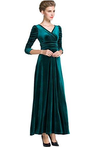 MedeShe Women's Christmas Long Sleeve V Neck Velvet Maxi Dress (18/20, Emerald Green Ruched Waist)