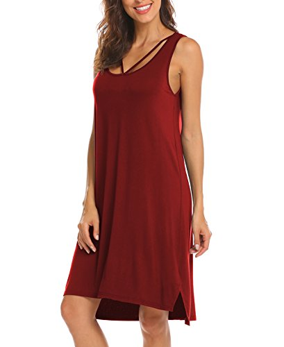 Naggoo Women Sleeveless Beach Dress Flowy Irregular Tank Dress Wine (M&m Red Tank Dress)