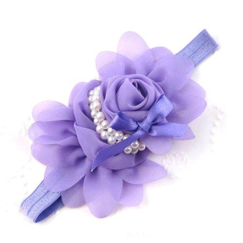 Générique Bébés filles en mousseline de soie perle Bandeau Rose Fleur Hairband Photographie Prop Band (Violet)