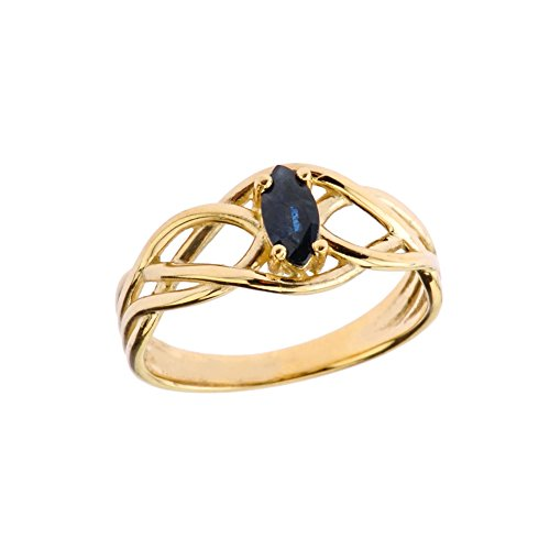 Exquisite 10k Yellow Gold Sapphire Celtic Knot Engagement/Promise Ring (Size 9.5)