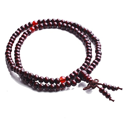 Vintage Tibetan Buddhist Meditation Red Sandalwood Prayer Necklace Bracelet