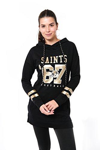 Icer Brands NFL New Orleans Saints Women's Tunic Hoodie Pullover Sweatshirt Terry, Medium, Black