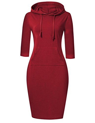 MISSKY red Dresses for Women Long Sleeve Stripe Pocket Knee Length Slim Sweatshirt Casual Pullover Hoodie Women Dress (XL, Wine)