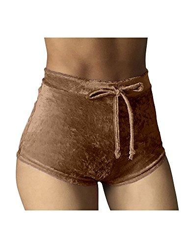 Rela Bota Women's Casual Soft High Waist Velvet Drawstring Casual Booty Shorts Medium Brown
