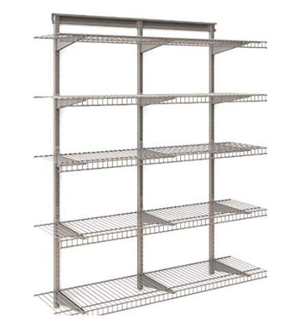 Heavy Duty Wall Mount Storage Shelves - 5-Tier Adjustable Floating Wall Nickel Wire Shelves - Great Organizer for Kitchen, Garage, Laundry, Pantry, Office or Business - Stable and Durable 5-Shelf Kit ()