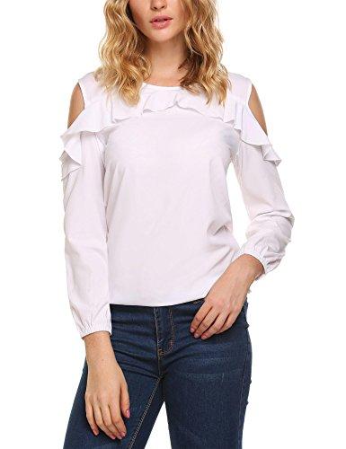 Hotouch Women's Vogue Shoulder Off Top Long Sleeve Blouses Shirt Tops White L