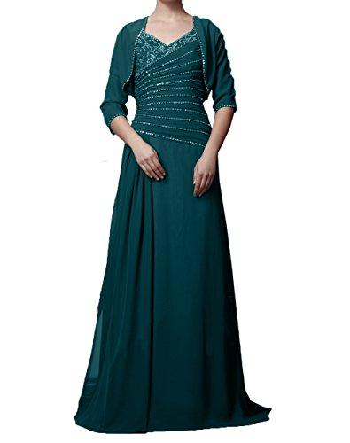 Jaket Abendkleider Brautmutterkleider Langarm Dunkel Charmant Damen Blau Chiffon Ballkleider mit Elegant Partykleider wqxz0xI