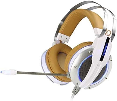 RENKUNDE ヘッドセットステレオケーブルで有線ゲーミングヘッドセットホワイトブラウンステッチヘッドセット ゲーミングヘッドセット