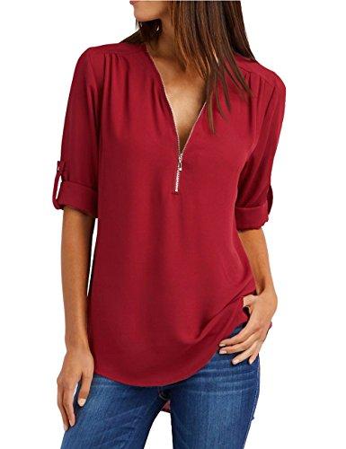 lache Femmes Vin Tops Soie Manches de Blouse ISASSY Zipper Casual Neck Mousseline Rouge en Sexy Longues V RU6dYwq