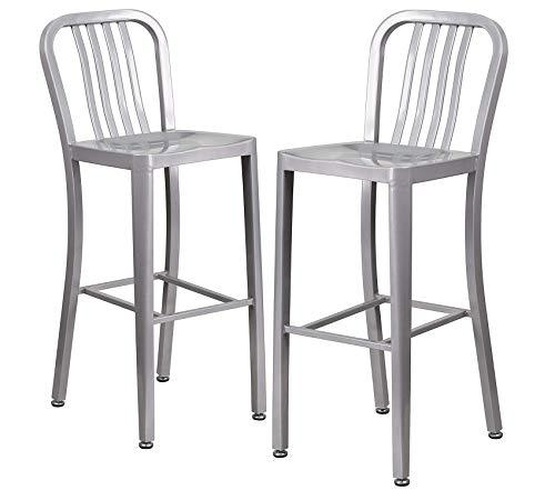 Flаsh Furniturе Patio Outdoor Garden Premium 2 Pk. 30'' High Silver Metal Indoor-Outdoor Barstool with Vertical Slat Back