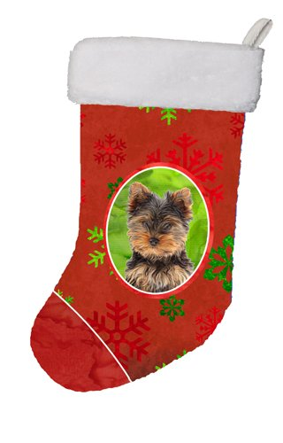 Caroline's Treasures Red Snowflakes Holiday Christmas Yorkie Puppy/Yorkshire Terrier Christmas Stocking, 11 x 18