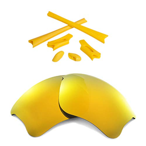 Walleva 24K Gold Polarized Lenses and Yellow Rubber Kit for Oakley Flak Jacket XLJ