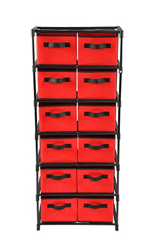 Home-Like 12-Drawer Chest Fabric Dresser Chest of Drawers 6 Tier Storage Organizer Tower Storage Unit Metal Shelf with 12 Removable Fabric Bins Ideal for Home Office Dorm Bedroom Nursery (Red)