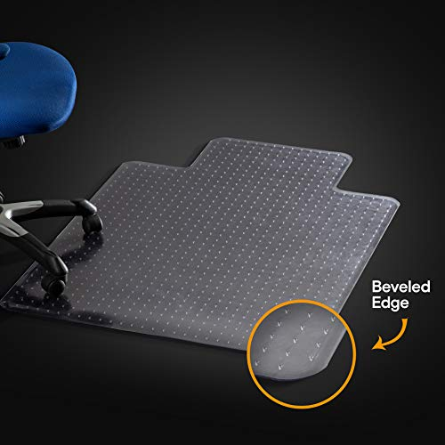 "Office Chair Mat for Carpeted Floors, Studded Desk Floor Mat, Clear Heavy Duty for Low and Medium Pile, Beveled Edge with Lip Large 36"" X 48"" Thick 5/32"" (0.145cm) Shipped Flat by Mastermat"