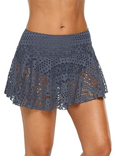 (REKITA Womens Swim Skirt Lace Crochet Skort Bikini Bottom Grey)