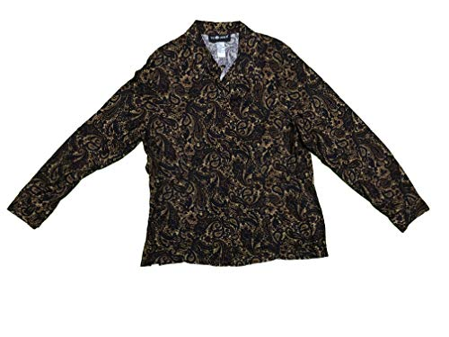 Sag Harbor Women's Button Front Blouse Long Sleeve Paisley Brown - Womens Harbor Sag Dress