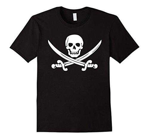 Swords Jolly Roger (Mens Jolly Roger Pirate Swords Skull Crossbones T-Shirt Costume Large Black)