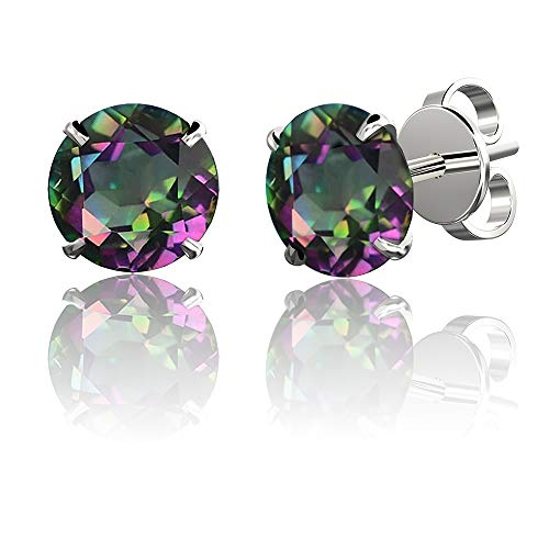 .925 Sterling Silver Hypoallergenic Mystic Topaz Cubic Zirconia Round Brilliant-Cut Stud Earrings, 8mm