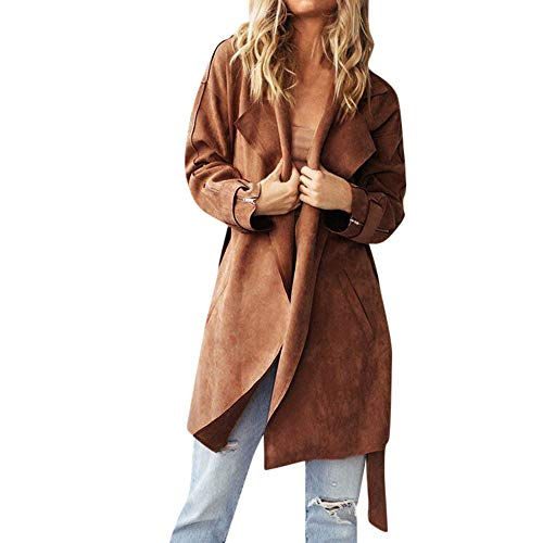 Creazrise Women Casual Faux Suede Long Sleeve Solid Lapel Cardigan Coat with Belt (Khaki,XL)