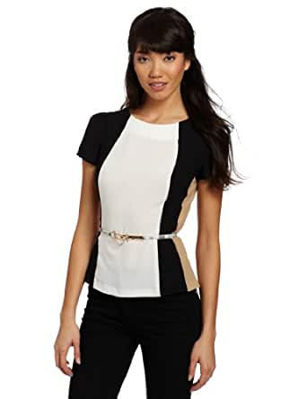 XOXO Juniors Vertical Blocked Peplum Top, Gold, Small