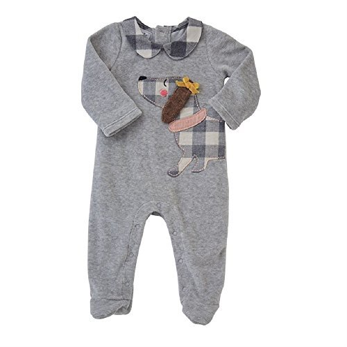 CHECK PUPPY VELOUR SLEEPER, 3-6 months (Embroidered Footed Sleeper)