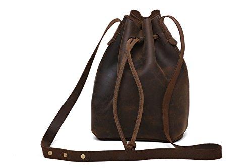 Rustic Vintage Genuine Leather Bucket Drawstring Shoulder Bag with Strap Sling Bag for Women Brown, 12x11x4 - Leather Large Drawstring