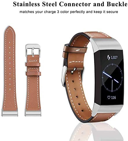Hotodeal Leather Band Compatible Charge 3, Classic Replacement Genuine Leather Bands Metal Connectors Women Men Small Large Size Silver, Rose Gold, Black 3
