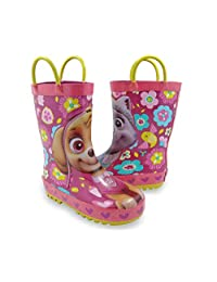 PAW Patrol Skye Everest Girls Toddler Rubber Rain Boots with Handles Pink