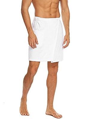 Langle Men's Terry Velour Bath Wrap Shower Cotton Towels Sleepwear Adjustable Robe S-XXL