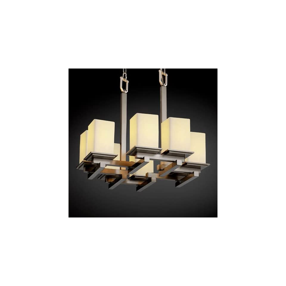 Justice Design Group CandleAria Montana Eight Light Brushed Nickel Zig Zag Chandelier