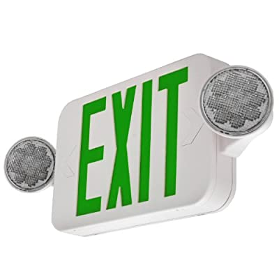 LFI Lights - 2Pack - UL Certified - Hardwired Green Compact Combo Exit Sign Emergency Egress Light - High Output - COMBOGJR2x