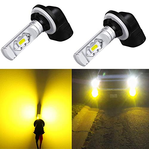 Alla Lighting 3800lm 889 881 LED Fog Light Bulbs Xtreme Super Bright 898 881 LED Bulb ETI 56-SMD LED 881 Bulb for Auto Motorcycle Cars Trucks SUVs Fog DRL Lights, 3000K Amber Yellow (Set of 2) ()
