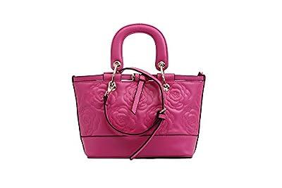 Mn&Sue Vintage Womens 100% Genuine Leather Rose Pattern Roomy Large Top Handle Handbags Shopper Tote Purses
