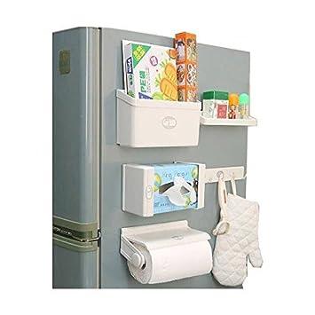 Stvin Refrigerator Storage Rack 5 IN 1 Magnetic Tissue Paper Roll Holder  Spice Rack Towel Rack