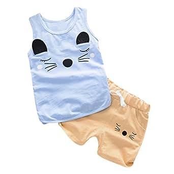 Bebé Niños Niñas Zolimx Ojos Impresión Tops Chaleco + Pantalones Cortos Trajes Conjunto de Ropa (Azul, 6 Meses)