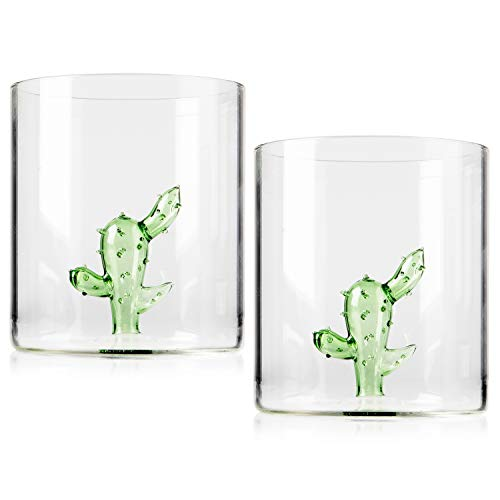 Margarita Glasses - Set of 2 - Cactus Margarita Glass | Lead-Free Handblown Seamless Glass, Large 16oz - Stemless Low Ball Cocktail Tumblers - Tequila Tasting Glasses. (Glasses Cactus)