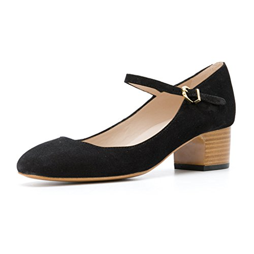 Round Toe Heel Pumps Stacked (FSJ Women Mary Jane Stacked Block Heels Vintage Pumps Retro Round Toe Shoes For Comfort Size 4 Black)