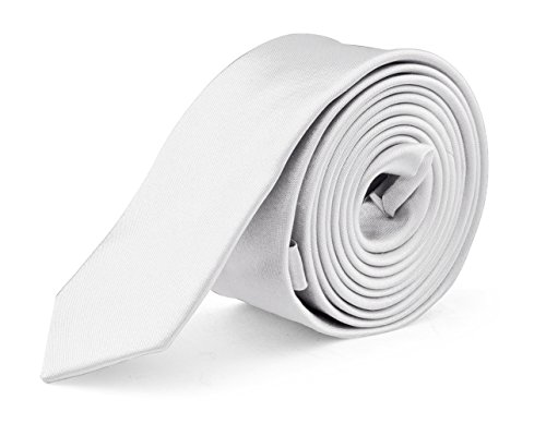 - Ties For Mens Skinny Slim Silk Finish Fashion Long Necktie - Solid Color MDR - White