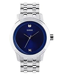 GUESS Factory Men's Blue and Silver-Tone Diamond Dress Watch