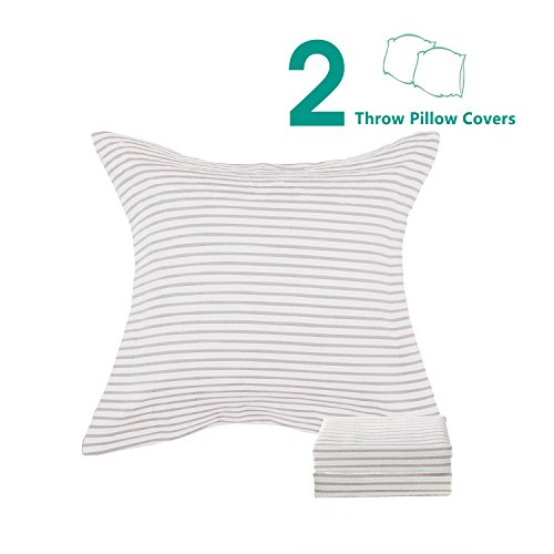 NTBAY 3 Layers Washed Cotton Woven Striped Jacquard Throw Pillowcases Cushion Covers Set of 2, Queen Size, Camel (Three Layer Throw)
