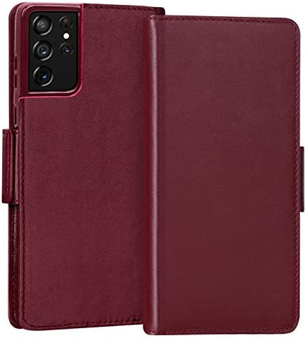 """FYY Case for Samsung Galaxy S21 Ultra 5G 6.8"""" Luxury [Cowhide Genuine Leather][RFID Blocking] Wallet Case Handmade Flip Folio Case Cover with [Card Slots] for Galaxy S21 Ultra 5G Wine Red"""