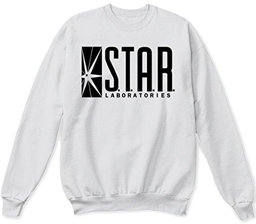 Star Laboratories Star Labs Sweatshirt Sweater Crew Neck Pullover - Premium Quality (Medium, White)