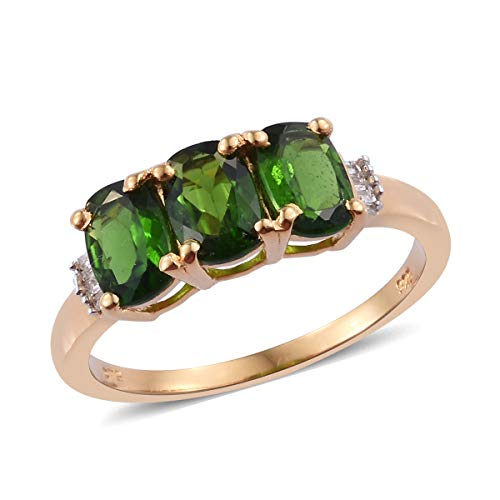 Chrome Diopside Diamond Baguette 3 Stone Ring 925 Sterling Silver Vermeil Yellow Gold Gift Jewelry for Women Size 7 Cttw 2.2