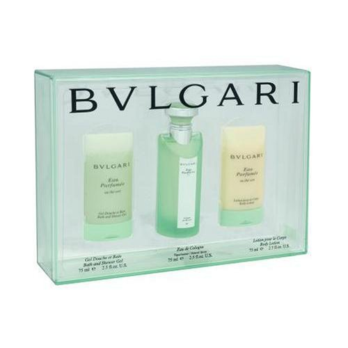 Bvlgari Green Tea By Bvlgari For Women. Set-eau De Cologne Spray 2.5 oz & Body Lotion 2.5 oz & Shower Gel 2.5 oz ()