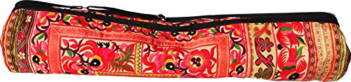 RaanPahMuang Bright Embroidered Hand Made Birds Flowers Yoga Mat Bag, 29 inch length, Yellow B