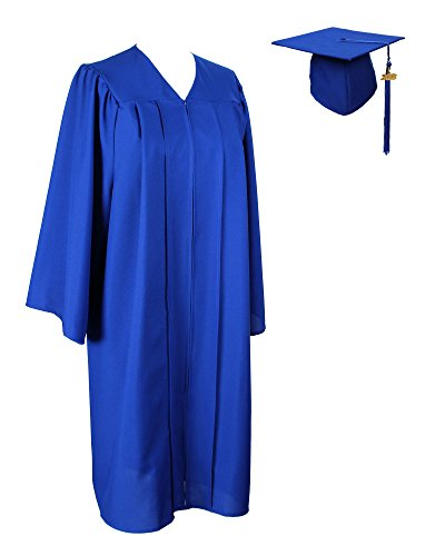 GraduationService Matte Gown Cap Tassel 2017 and 2018 Unisex, Royal Blue, 60(6.3-6.5)inches