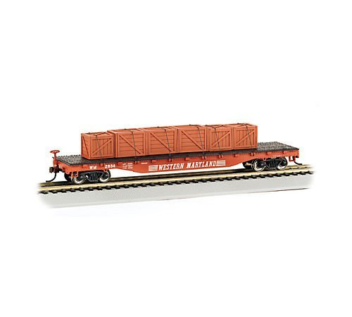 Bachmann Trains Western Maryland Flat Car with Created Load-Ho Scale