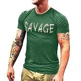 LEXUPA Men's Printing Tees Casual Letter Fashion Shirt Short Sleeve T-Shirt Top Blouse (Green,Large)