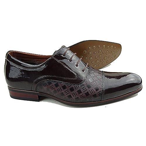 well-wreapped Ferro Aldo MFA-19507L Men's Dark Brown Patent Lace Up Cap Toe Oxford Dress Shoes